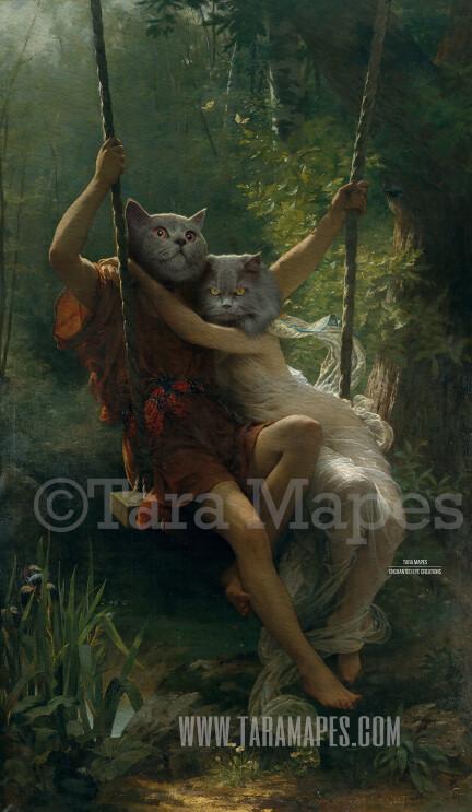 Couples Pet Portrait PSD Template- Pet Painting Portrait Body Animal Head 93  - Layered PSD Digital Background Backdrop