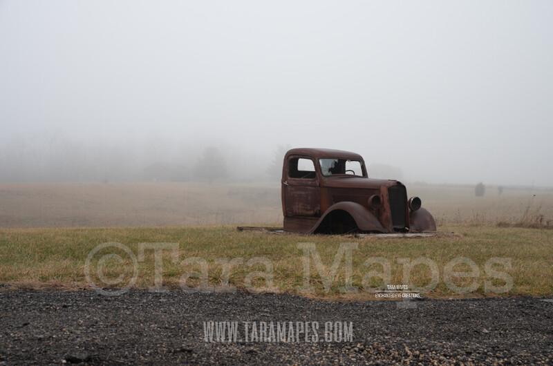Foggy Truck 2 $1 Digital Background Backdrop