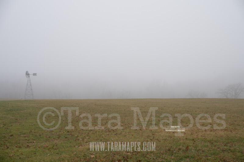 Foggy Field 1 $1 Digital Background Backdrop