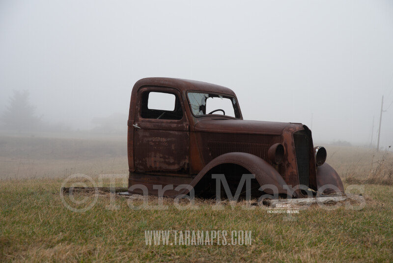 Foggy Truck 3 $1 Digital Background Backdrop
