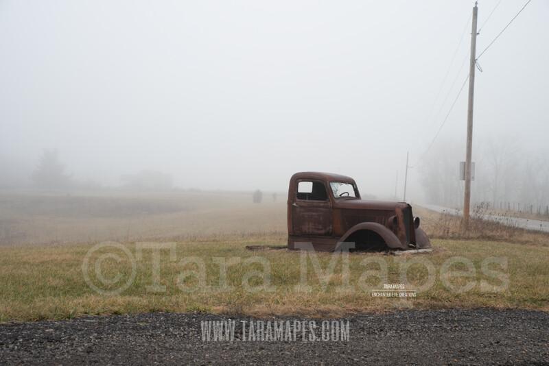 Foggy Truck 4 $1 Digital Background Backdrop