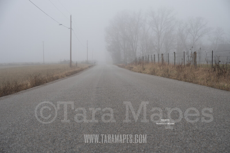 Foggy Road 2 $1 Digital Background Backdrop