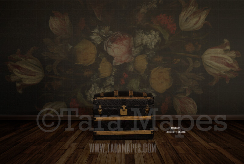 Studio Trunk with Wood Floor and Floral Background Digital Background by Tara Mapes
