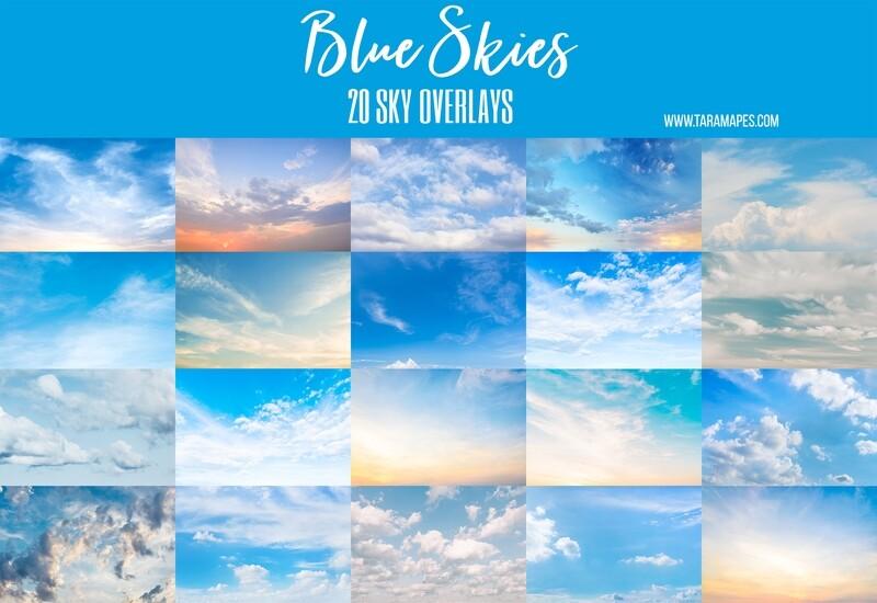 BLUE SKIES 20 Blue Sky Overlays Digital Background Backdrop