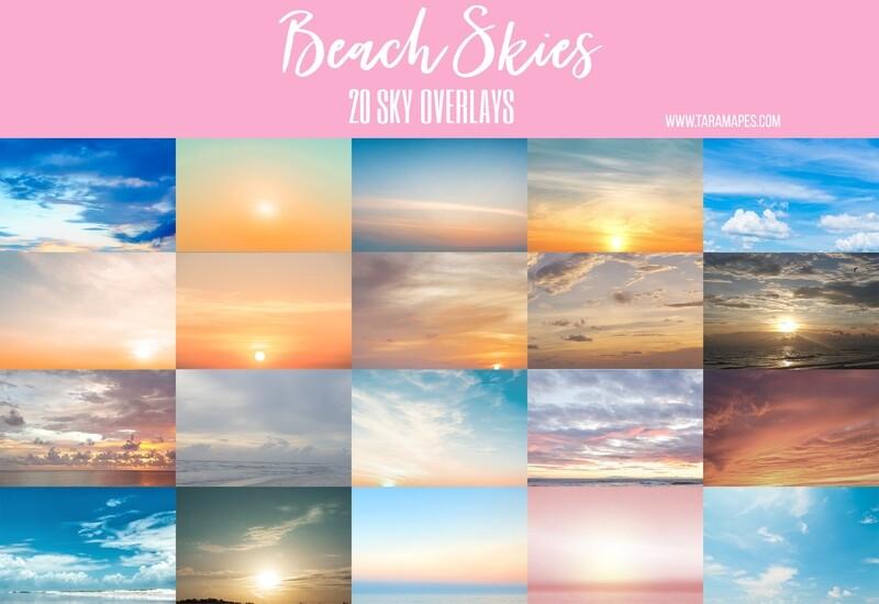 BEACH SKIES 20 Beach Sky Overlays Digital Background Backdrop
