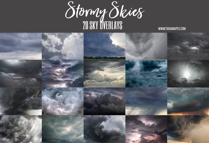 STORMY SKIES 20 Cloudy Thunderstorm Sky Overlays Digital Background Backdrop