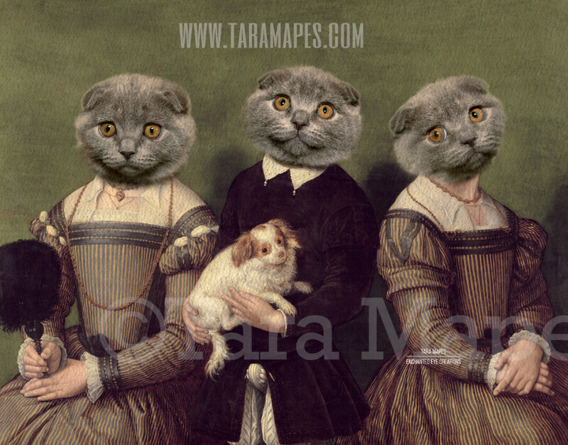 Pet Portrait  - Group of Bodies PSD Template- Pet Painting Portrait Bodies 95 - Layered PSD  Digital Background Backdrop