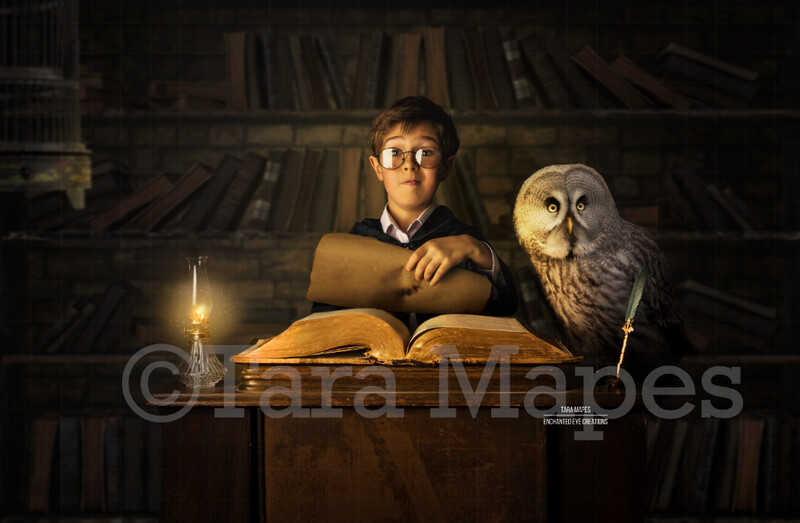Wizard Desk with Magic Book - Magic Owl - Wizard Spell Book - Wizard Library- Digital Background / Backdrop