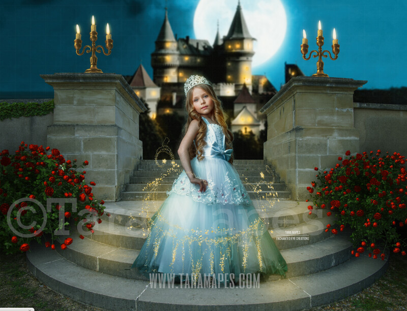 Princess Castle Staircase - Round Castle Stairs with Castle in Background - Fairytale Moonlight Castle - Digital Background Backdrop Photoshop