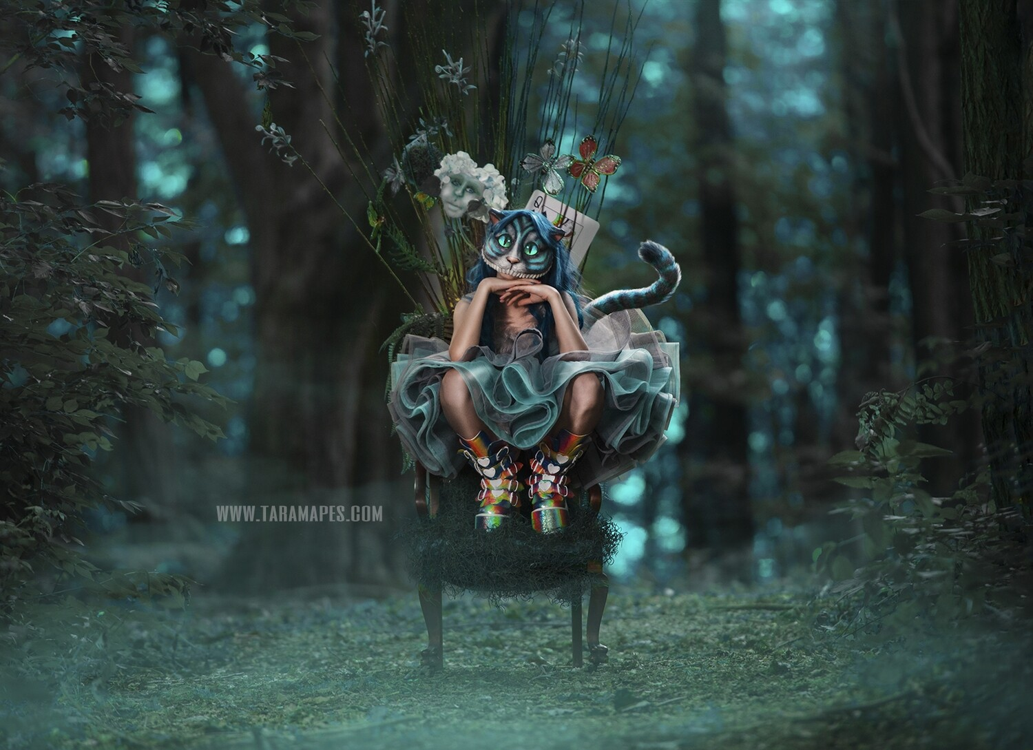 Alice in Wonderland Mossy Chair in Forest Digital Background Backdrop
