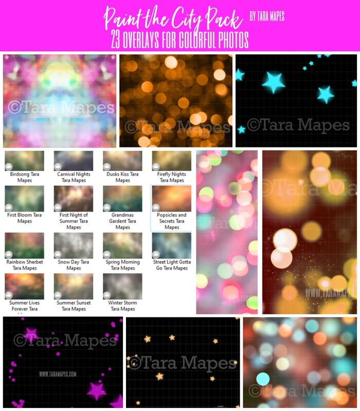 Paint the City Pack: Painted Overlays, Star Overlays and Bokeh Overlays