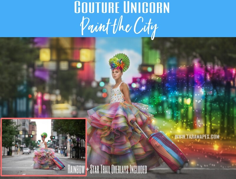 Paint the City Photoshop Tutorial No Actions Needed- Star and Rainbow Overlays Included - Painterly Fine Art Tutorial by Tara Mapes