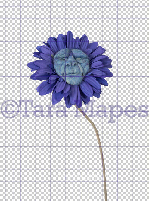 Talking Flower-  Blue Flower with Face- Flower Overlay by Tara Mapes - Alice in Wonderland Inspired PNG - Digital Overlays by Tara Mapes Enchanted Eye Creations