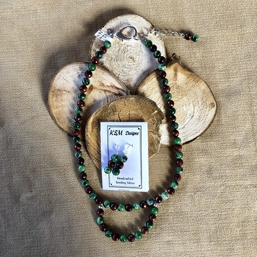 Tiger's Eye & Blood stone Necklace & Earring Set