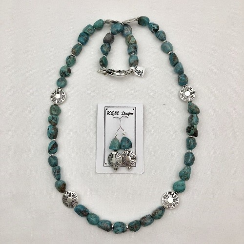 Natural Blue Turquoise & Pewter & Necklace Set