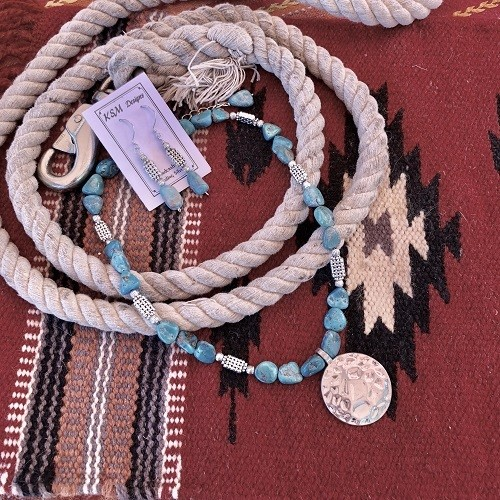 Natural Turquoise & Pewter Necklace & Earring Set