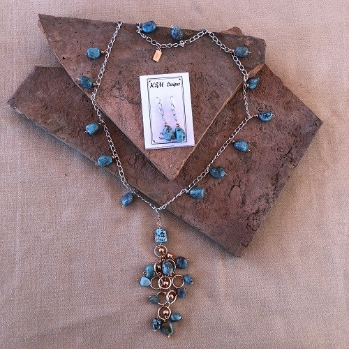 Natural Turquoise, Copper & Pewter Necklace & Earring set