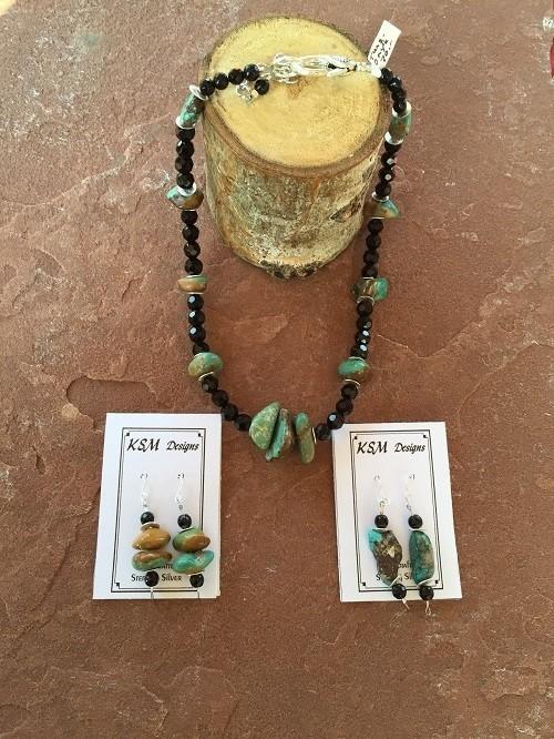 Onyx & Turquoise Necklace & Earring Set