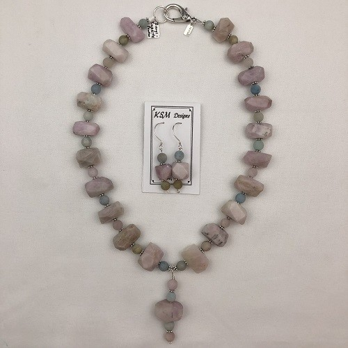 Kunzite & Beryl Necklace & Earring Set