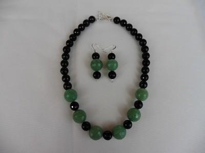Amazonite & Onyx Necklace & Earring Set
