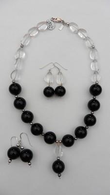 Onyx & Quartz Necklace Set