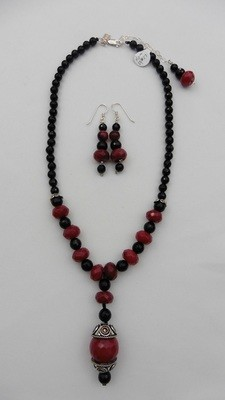 Ruby Quartz & Black Onyx Necklace Set
