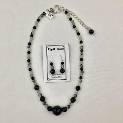 Rutilated Quartz & Onyx Necklace Set