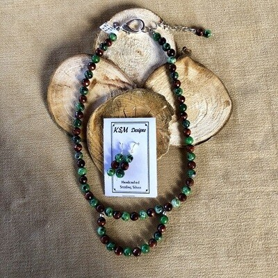 Blood Stone & Tiger's Eye Necklace & Earring Set