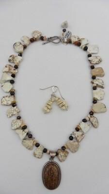 Porterite & Magnesite Necklace & Earring Set