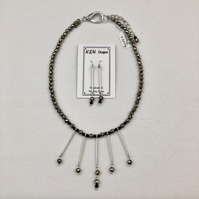 Pyrite & Onyx Necklace & Earring Set