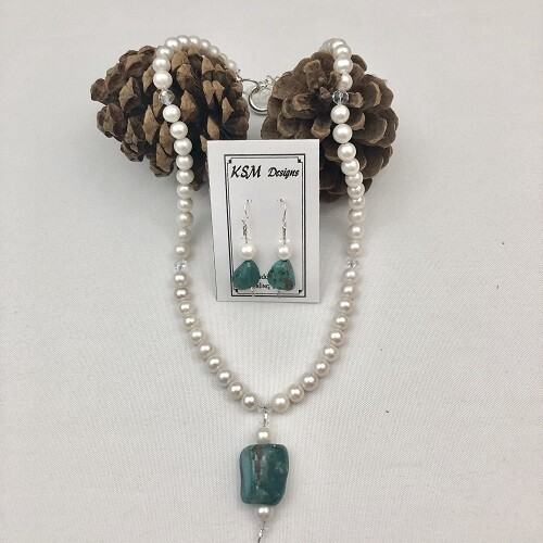 Freshwater Pearls & Turquoise Necklace & Earring Set