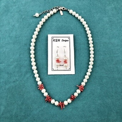 Freshwater Pearls & Coral Necklace & Earring Set