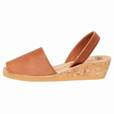 Avarcas Tan Leather Wedge