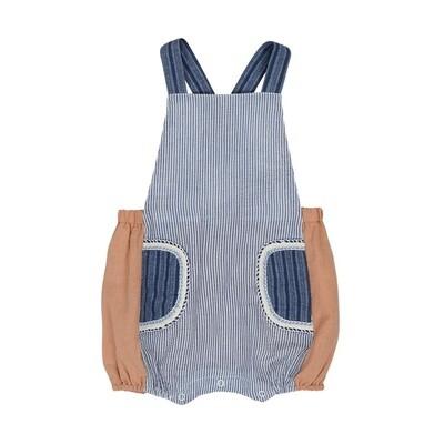 Denim Stripe Pocket Overalls