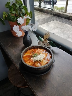 Spicy Tarako Soup with rice