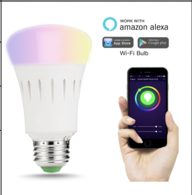 Optional Colour RGB LED Bulb 10w WIFI controlled