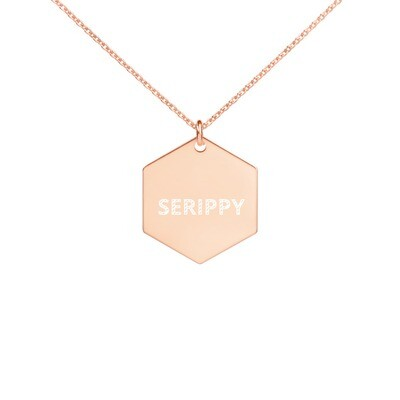 SERIPPY Engraved Silver Hexagon Necklace