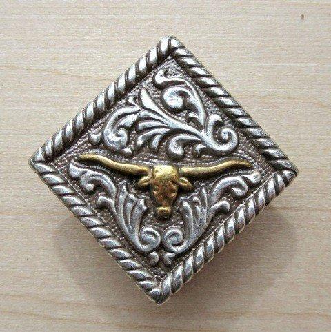 "Concho Diamond Longhorn Gold/Silver 1 1/4"" ~ TL2135AS"