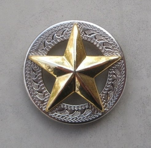"""Concho with Raised Gold Star 1"""" ~ R1498NG"""