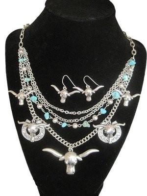 Longhorn Necklace & Earring Set
