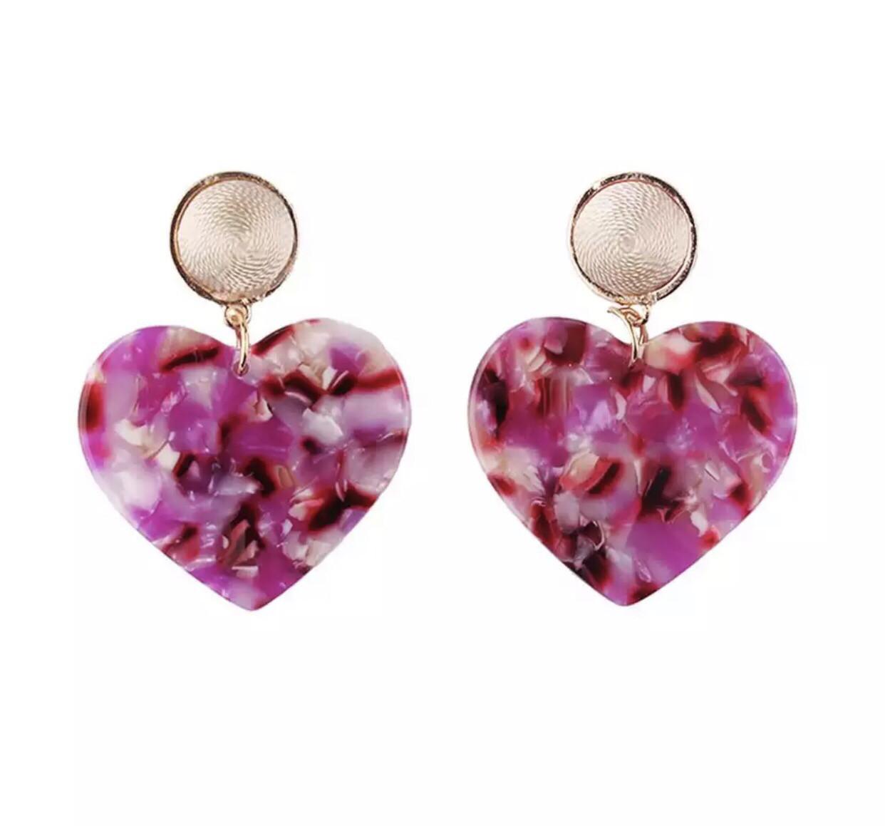 Pink Hearts Earrings