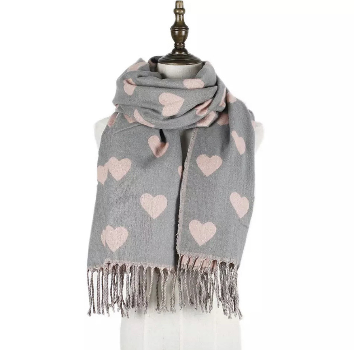 Heart scarfe Grey/pink