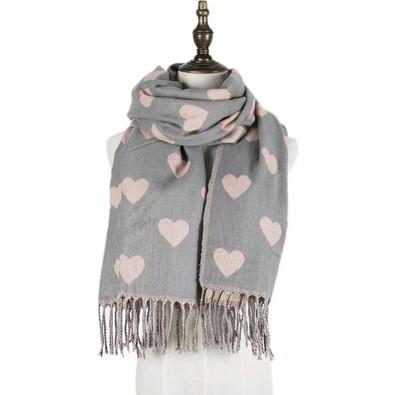 Heart scarfe Grey/pink