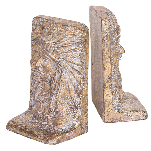 Cast Iron Bookend Set Indian Chief
