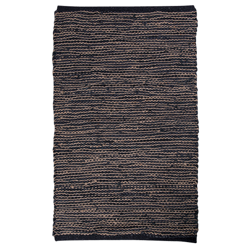 Leather & Jute Woven Rug 150x90cm - Charcoal