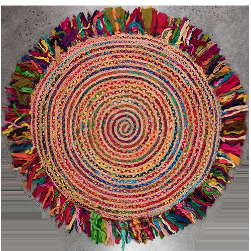 Multi Cotton Braided Jute Round Rug 90cm