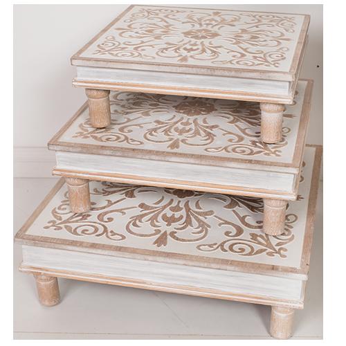Carved Wood Trivett Set (3)