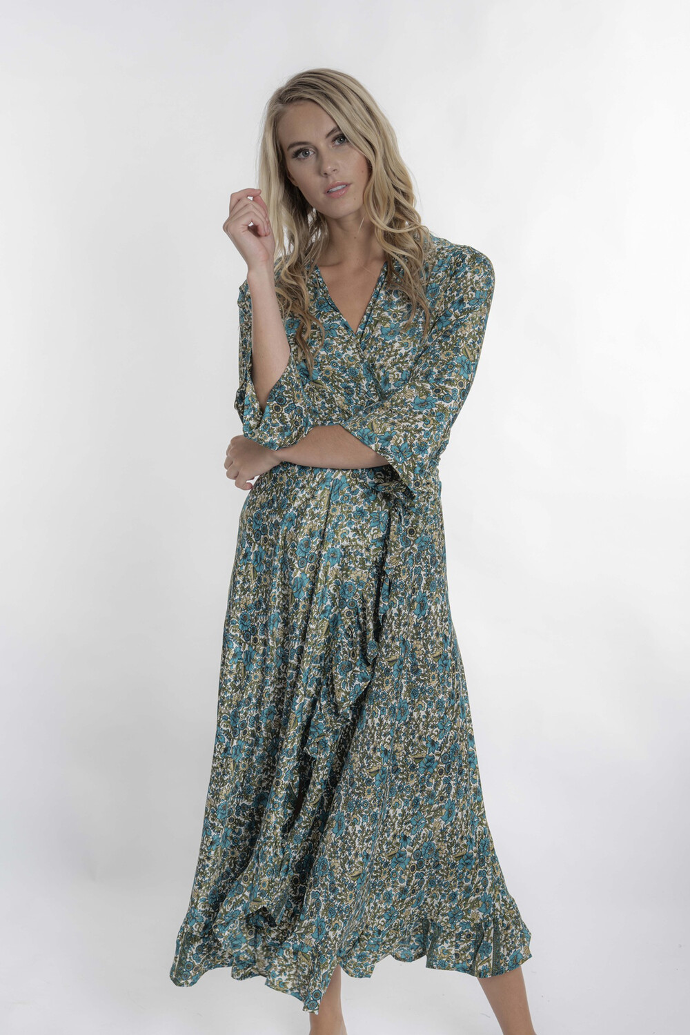Teal Silk Floral Dress