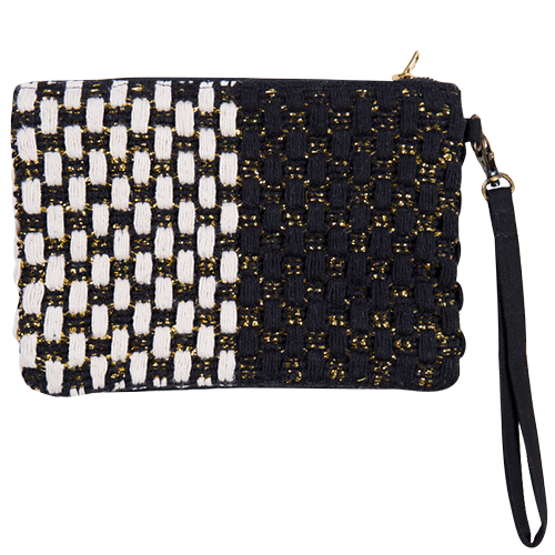 Embellished Clutch Bag with zip and detachable handle black & gold