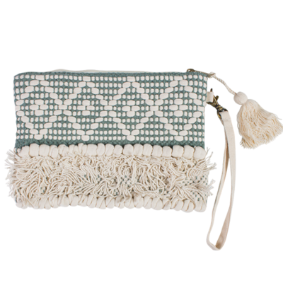 Embellished Clutch Bag with zip and detachable handle